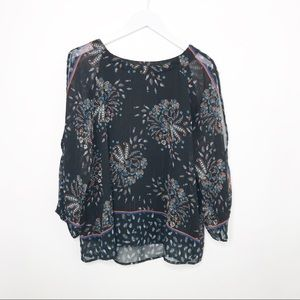 Anthro One September   Black Cold Sleeve Top